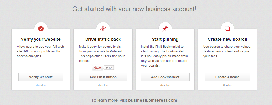 Use the separate Pinterest business portal to get your brand set up and running properly