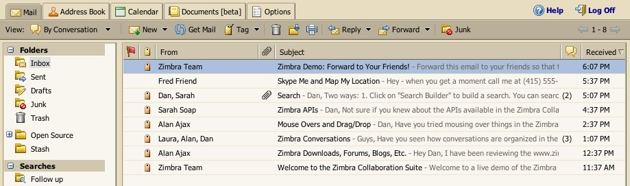 How an email inbox displays subject lines