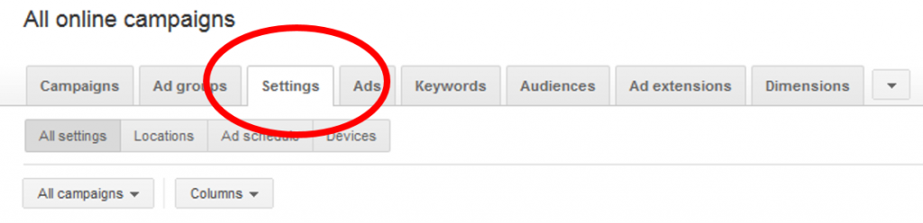Settings Tab In Adwords Interface