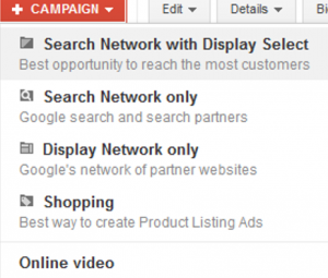 default adwords campaign networks