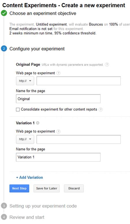 Configure Content Experiment