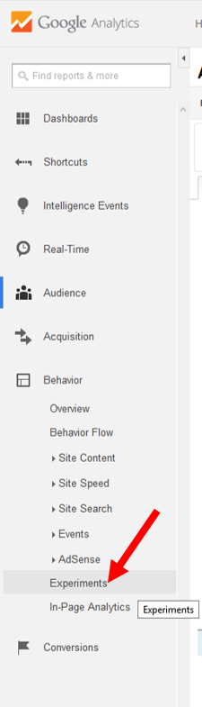 Experiments Tab Google Analytics