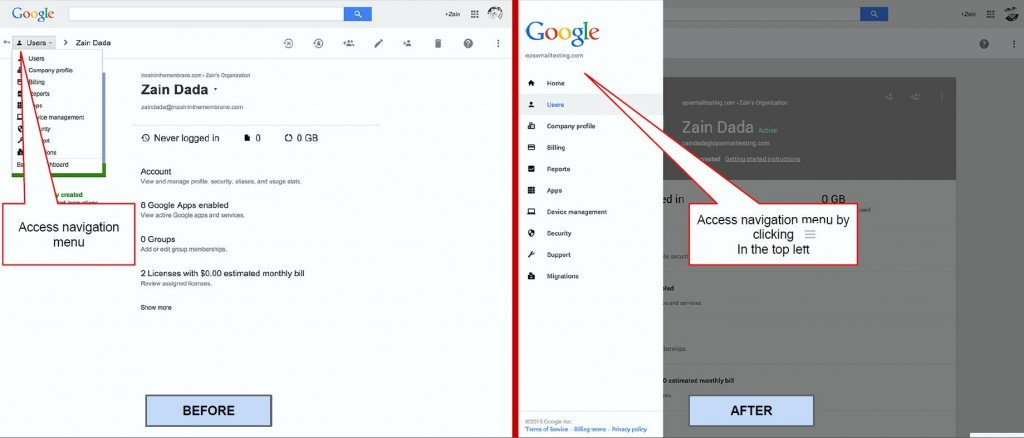 Google - admin console - before and after navigation