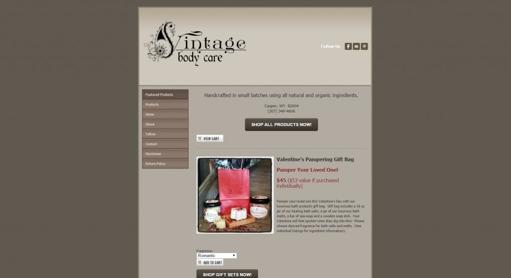 Vintage Body Care Before - nonoptimized website